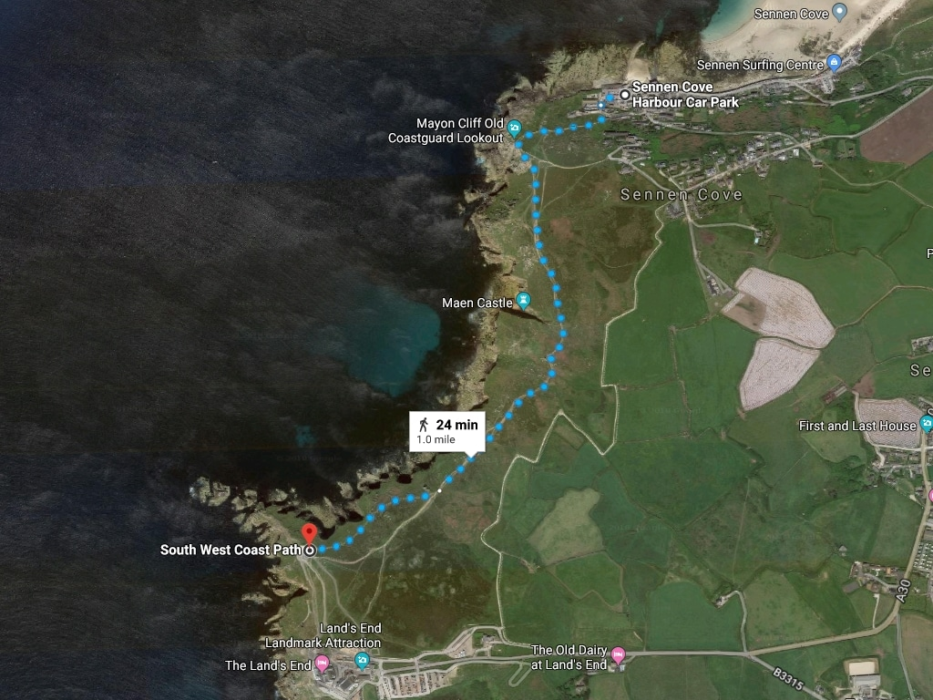 The Sennen Cove to Land's End coastal path map