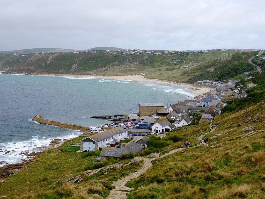 Looking back down to the Sennen Cove car park
