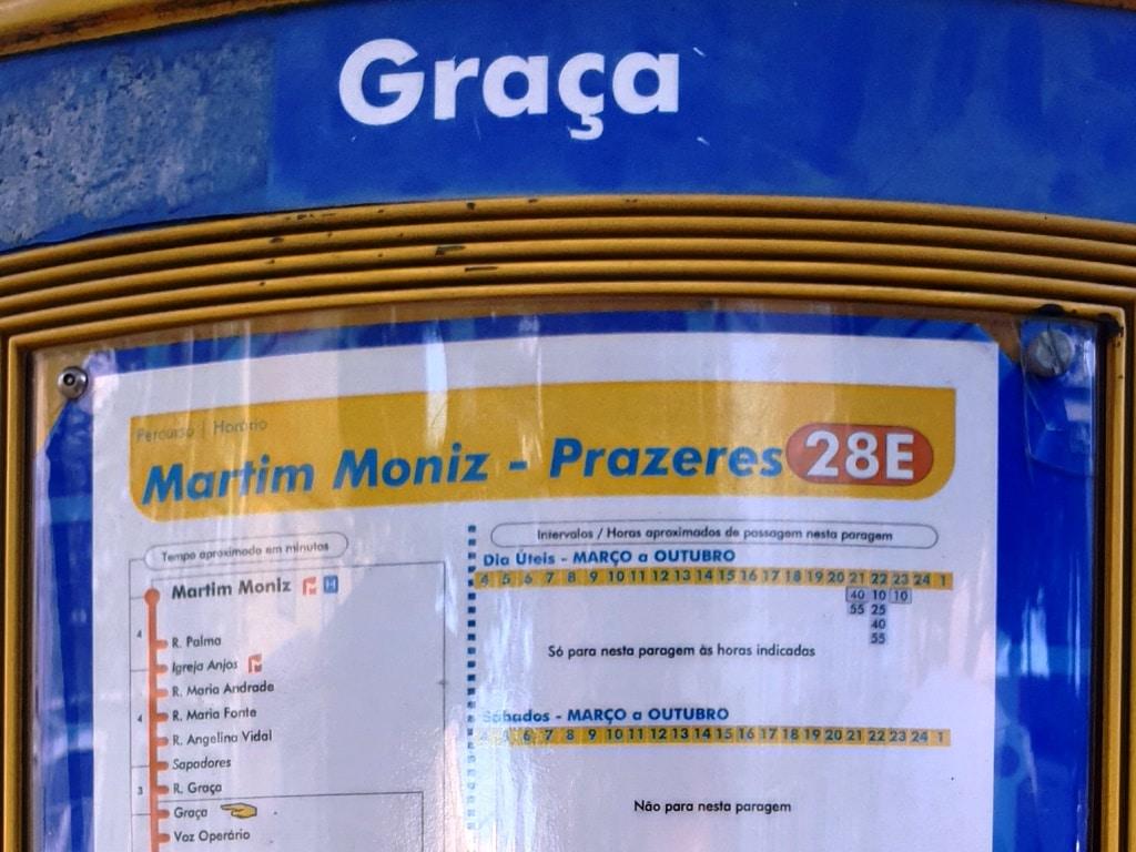 "The misleading Tram 28 direction ""Prazeres"" timetable"