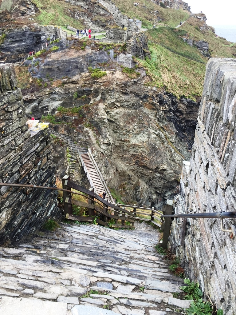 The steps to Tintagel Castle are steep both down and up!
