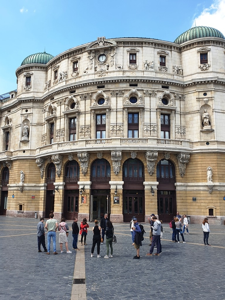 The walking group stood in front of the Teatro Arriaga