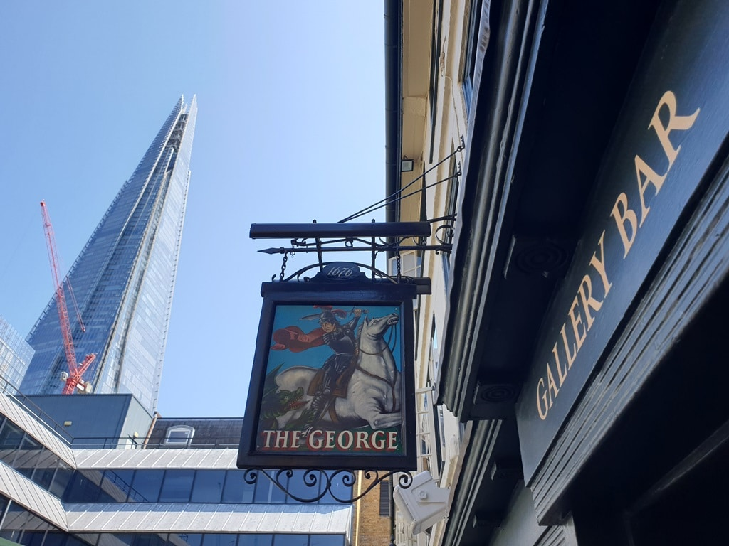 George inn sign and Shard in the background