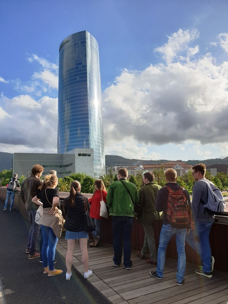 The Iberdrola Tower office skyscraper in Bilbao and the tour group