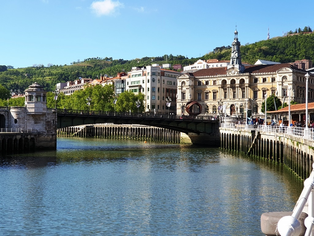 The Udaletxeko Zubia road bridge and Town Hall Bilbao