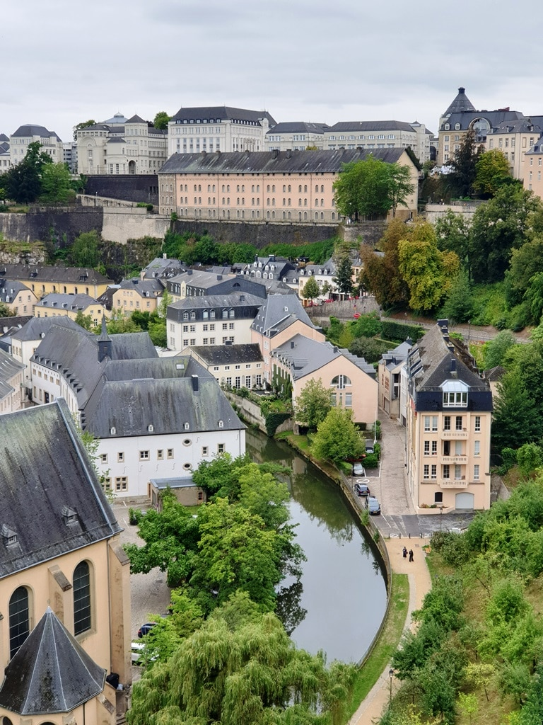 The view of Neumünster Abbey and Alzette from up on the Casemates du Bock