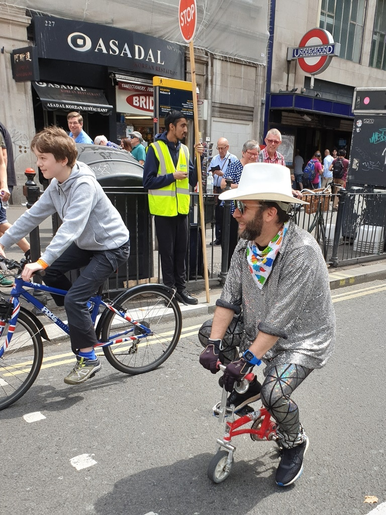 Man riding a little bike at RideLondon FreeCycle