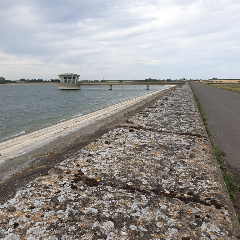 The Grafham Water dam wall