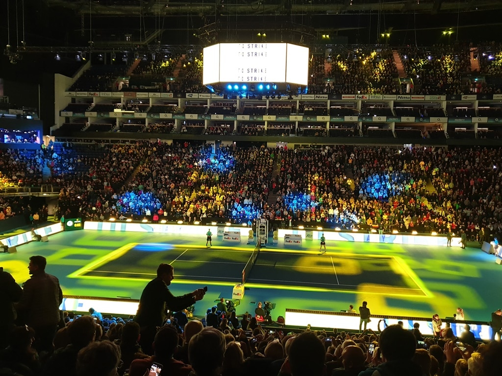 Light show at the ATP tennis finals at The O2