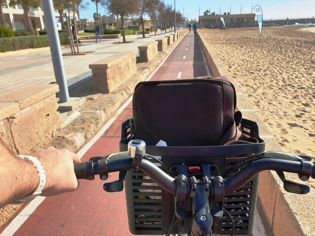 View from the saddle cycling along the Palma bike path