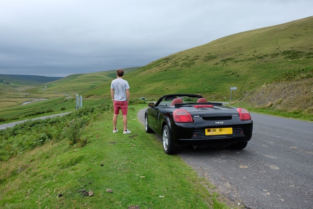 Car and driver in the Cambrian Valley