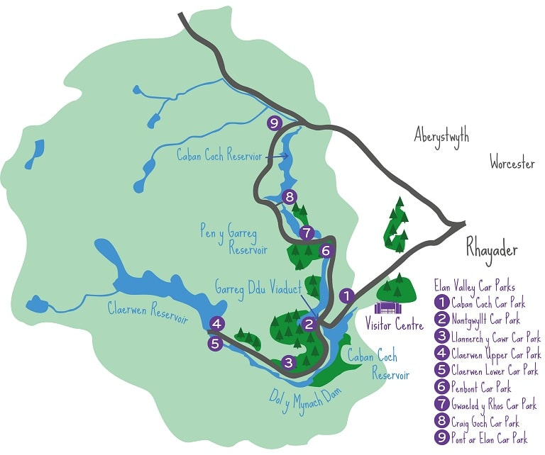 The Elan Valley driving route and car parks