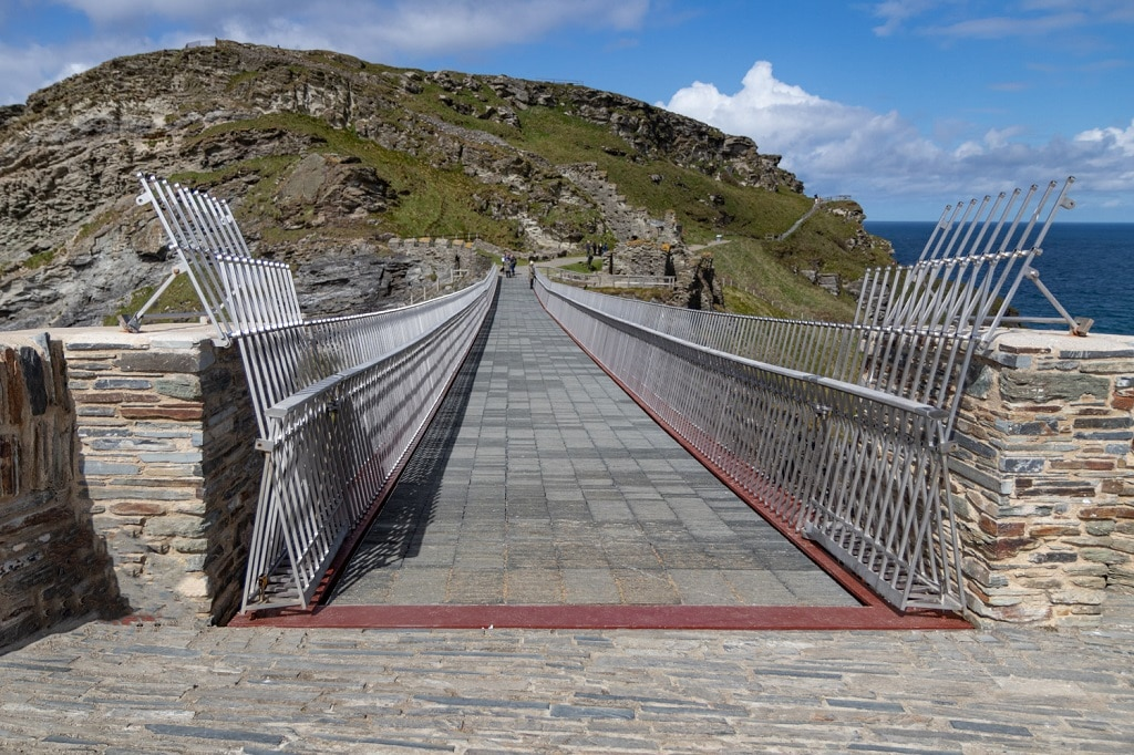 The view of the new accessible Tintagel Bridge across to the island