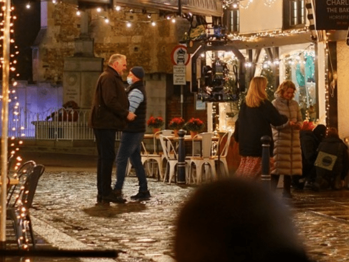 Greg Davies acting outside The Chia coffee shop in Hitchin