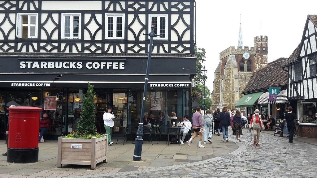 Hitchin Starbucks Coffee shop and church view