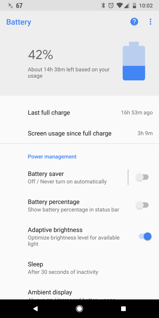 Pixel 2 XL Battery Stats