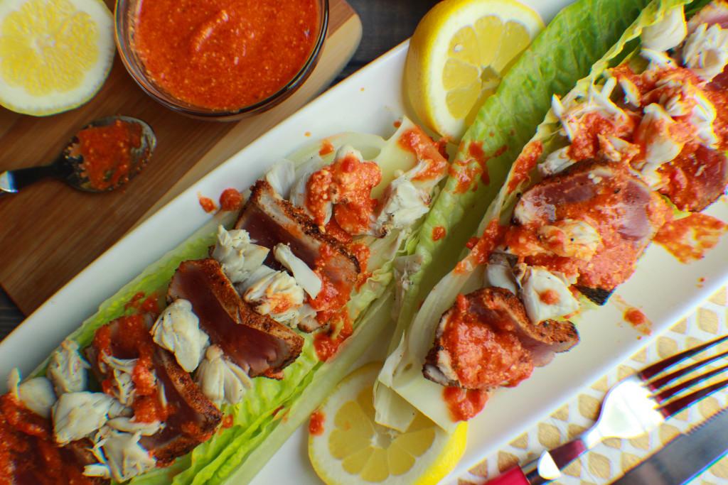 seared tuna, lump crab, red pepper pesto, tuna salad, seafood salad, red pepper pesto