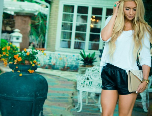 leather shorts, nude gladiator sandals, casual, blonde waves, bellami blonde