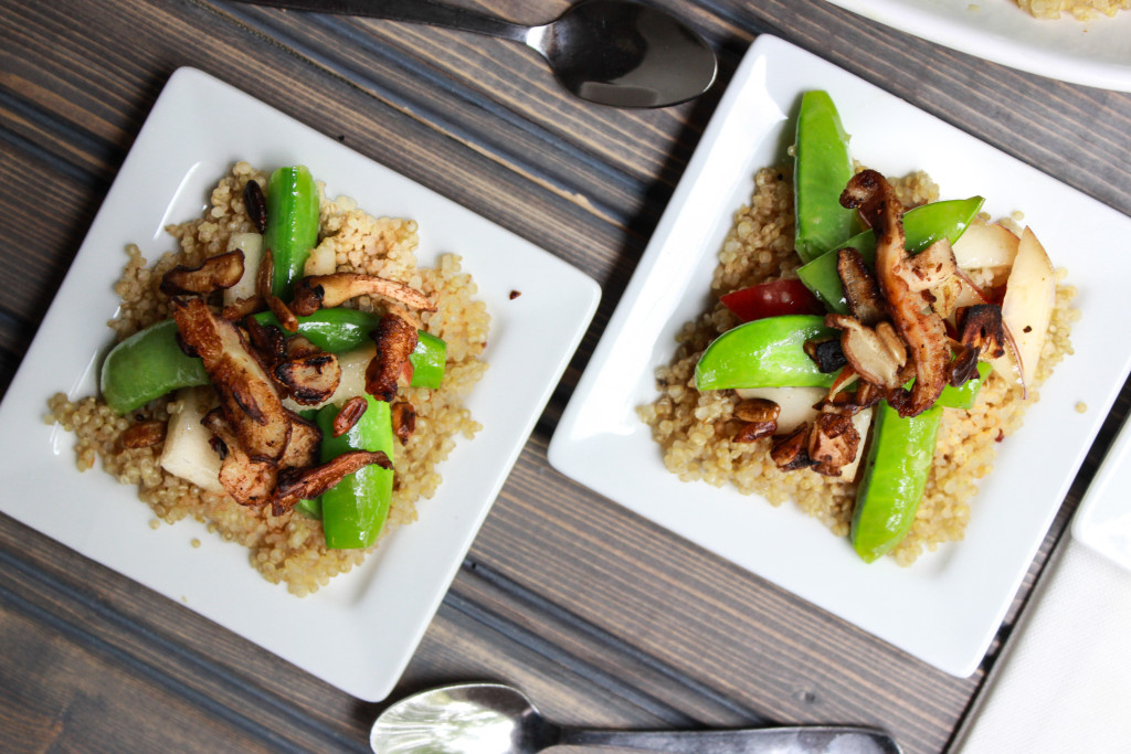 Pear and Sugar Snap Pea Salad over couscous with a cranberry ginger vinaigrette.