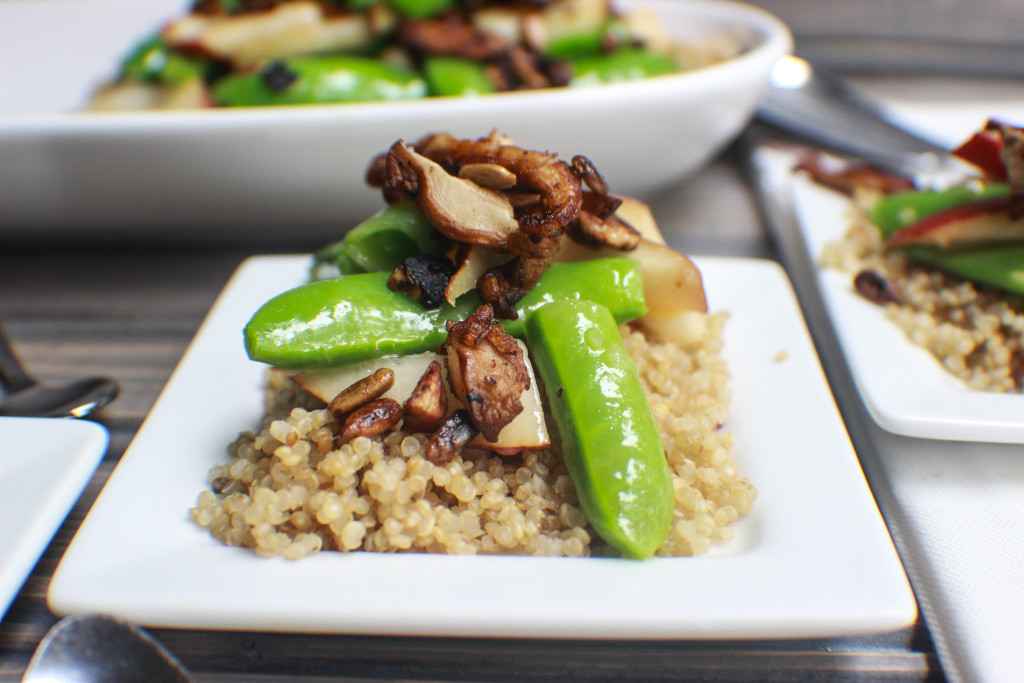 Pear and Sugar Snap Pea Salad over couscous.