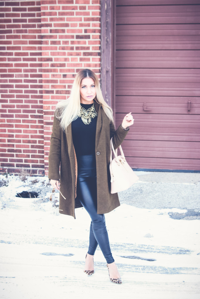 Green Trench and Liquid Leggings