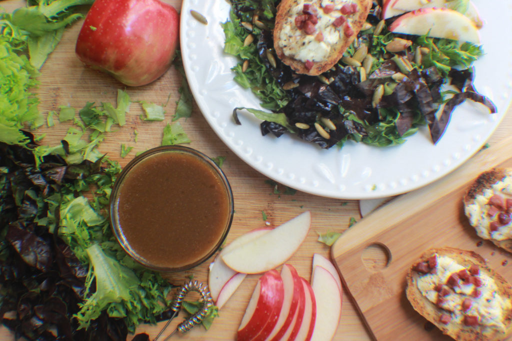 Goat's cheese Toasts and Apple Cider Balsamic vinaigrette