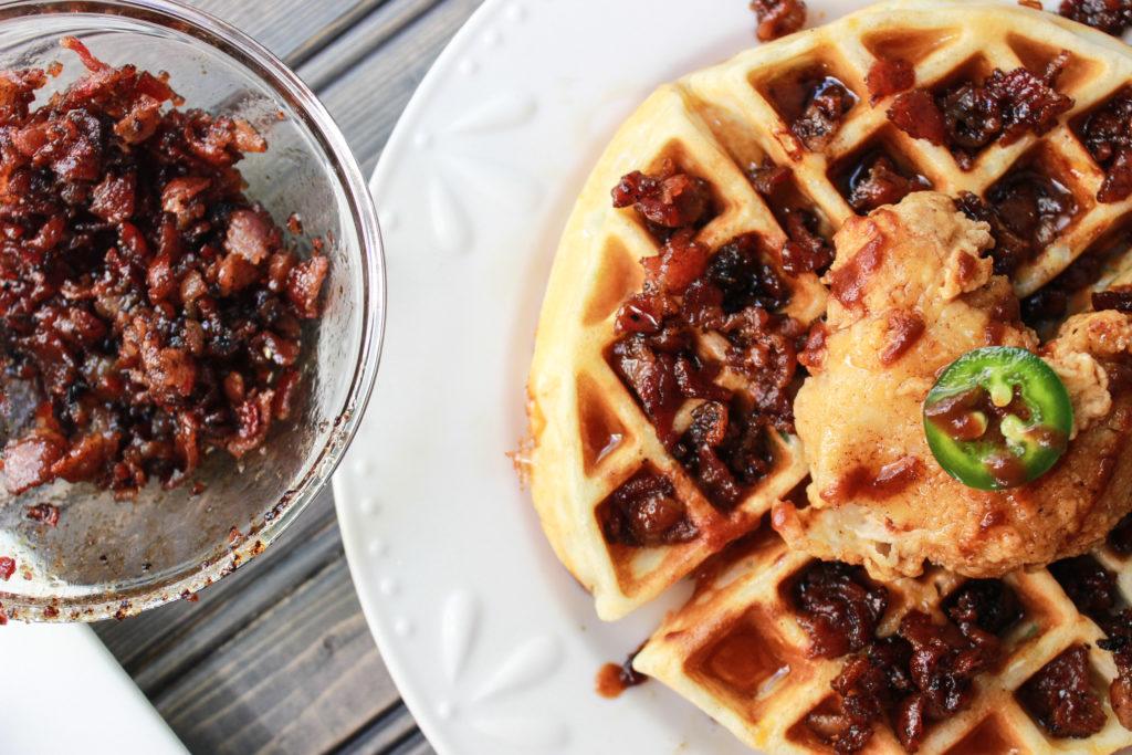 Chicke and waffles with vanilla bourbon bacon jam.