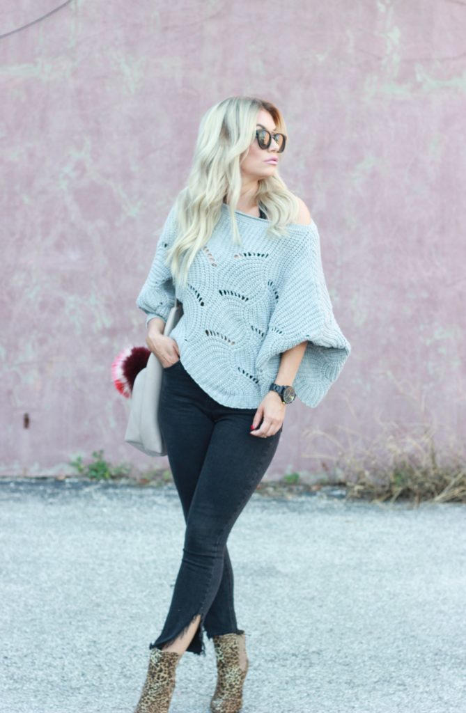 Off the shoulder Batwing Sweater