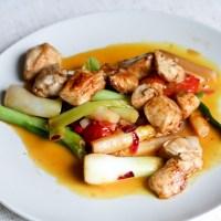 Ingwer-Spargel mit Hühnerfleisch