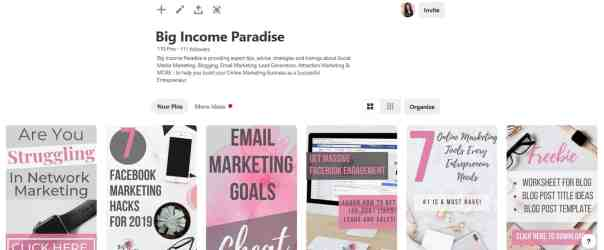 Pinterest pins from Big Income Paradise