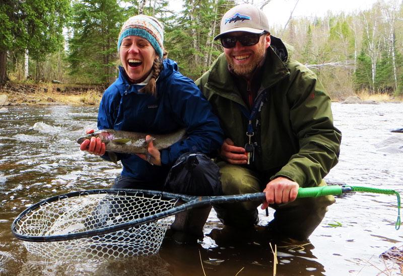 Fishing Steelhead in a Lake Superior Tribituary aong Minnesota's North Shore