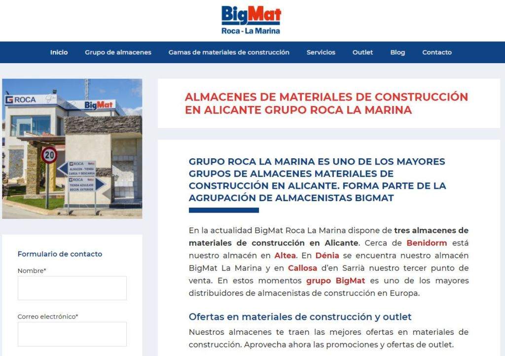 Lanzamiento de la nueva web BigMat Roca La Marina. Uno de los mayores grupos de almacenes de construcción en Alicante