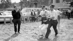 Bernie Sanders protesting segregation in the 1960s.
