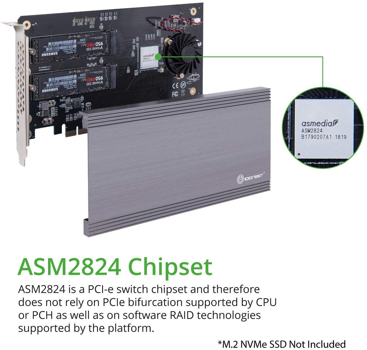 Support Non-Bifurcation Motherboard I//O CREST SI-PEX40129 Dual M.2 NVMe Ports to PCIe 3.0 x16 Bifurcation Riser Controller
