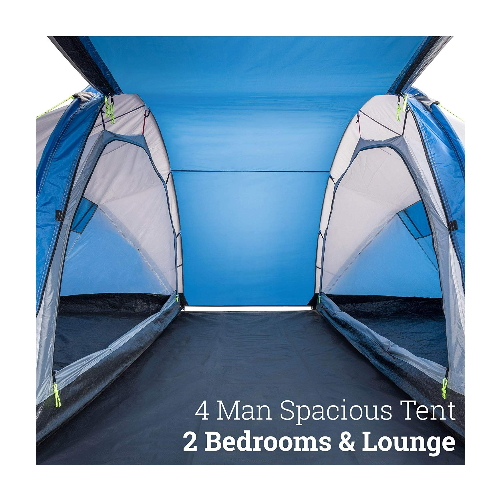 Hartland 4 Man Tent Waterproof Four Person 2 Bedroom Tent Family Tunnel Tent Large Communal Area 3000mm Hh Easy To Set Up Outdoor Camping Trail Big Online Deal
