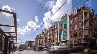 Eerste Constantijn Huygensstraat Steigerdoekreclame