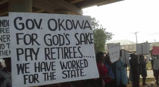 Retirees Protest Against Delta Govt., Accused Okowa Of Misuse Of Paris Club Refund