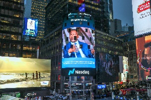 Aliko Dangote On The Nasdaq Tower In Times Square, New York