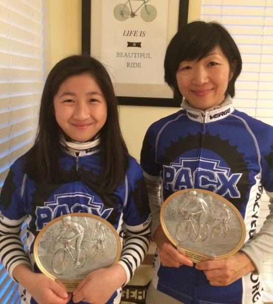 Congratulations to our girl, Homare Yamashita, standing next to her Mom, Masami Yamashita, for being awarded the Pennsylvania Cycling Association's Presidents Award, and the 2016 PACX Series Champion for Junior Women U15!! Amazing Accomplishments!!
