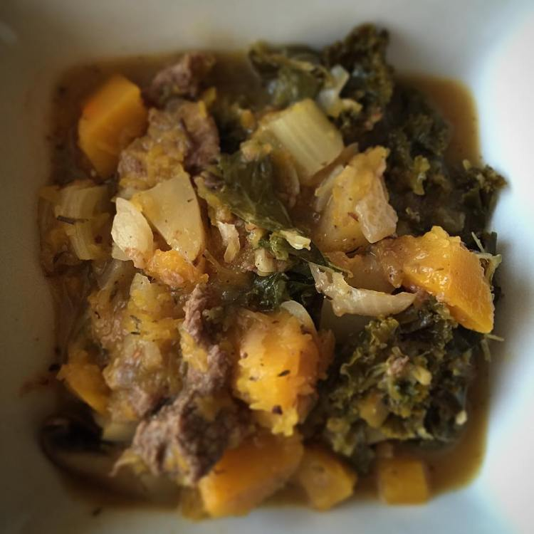 On the menu tonight: Pumpkin, kale, and beef stew. Featuring @berettafarms organic beef