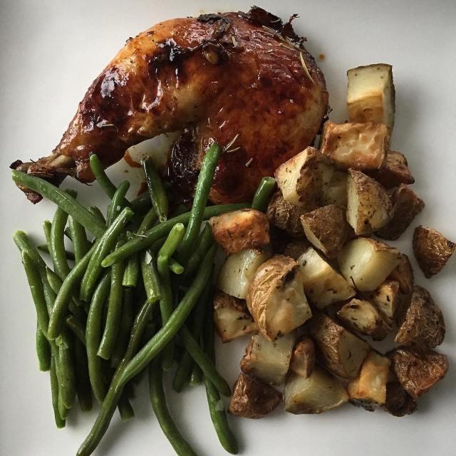 On the menu tonight Balsamic Rosemary chicken oven roasted potatoeshellip