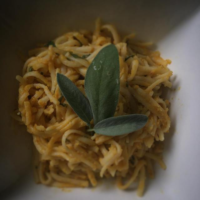On the menu tonight Smoked cheddar and sage pumpkin linguine