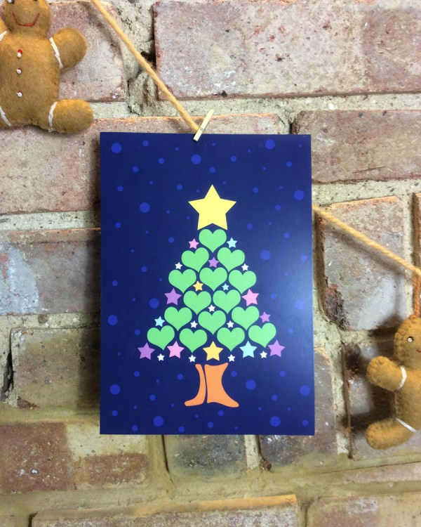 christmas tree design hearts and pastel stars
