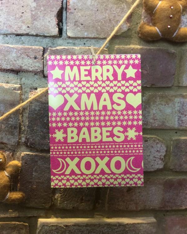 merry xmas babes xoxo christmas jumper card design