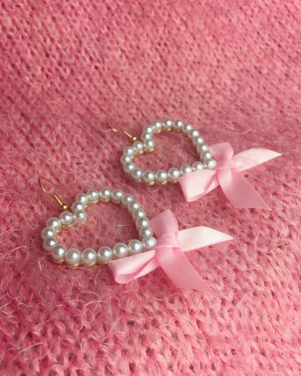 pearl-heart-pink-bow-earrings-princess-vintage