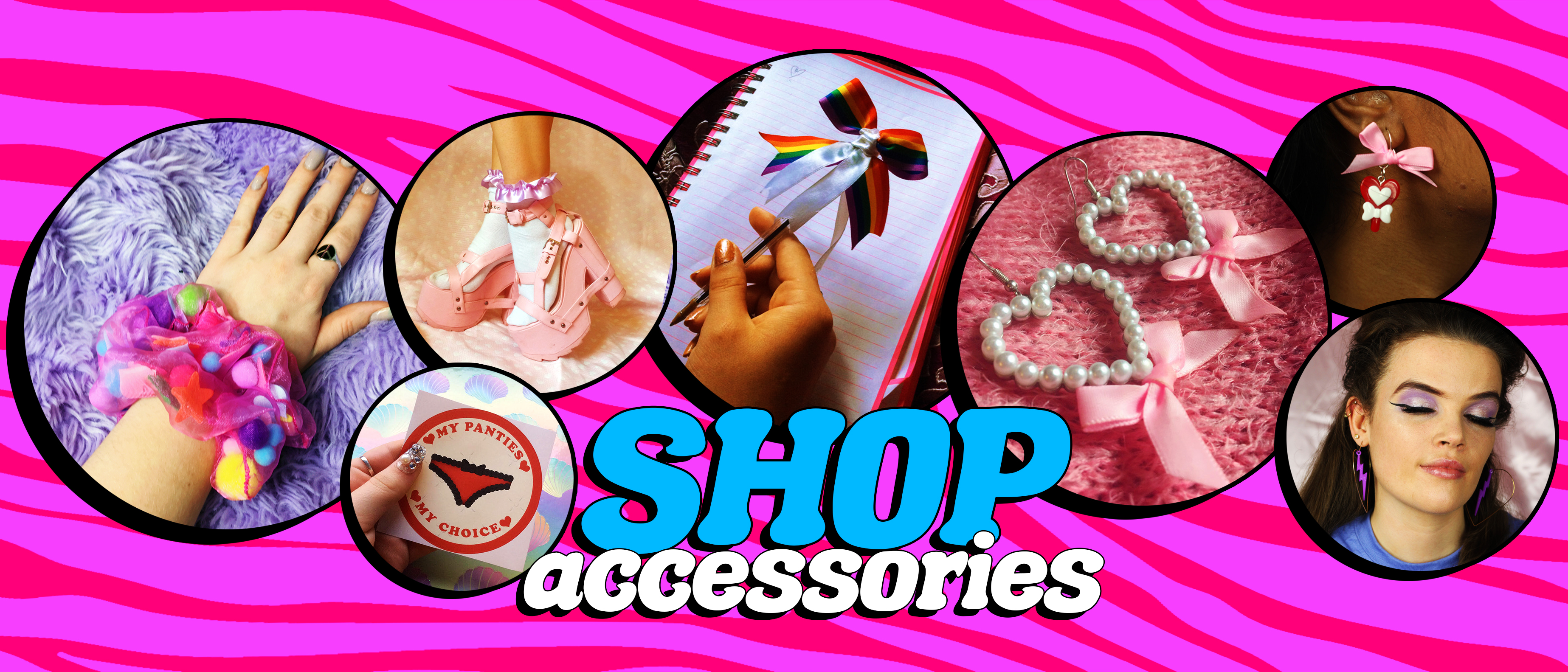 big pink boutique shop accessories earrings hair scrunchies socks stickers pens