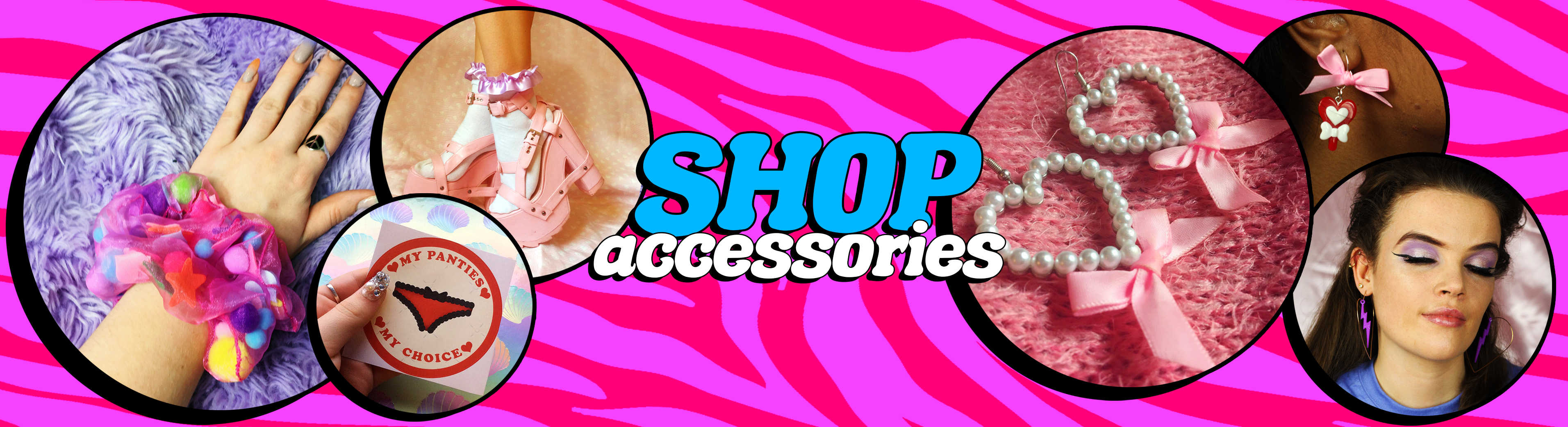 big pink boutique shop accessories earrings hair scrunchies socks stickers