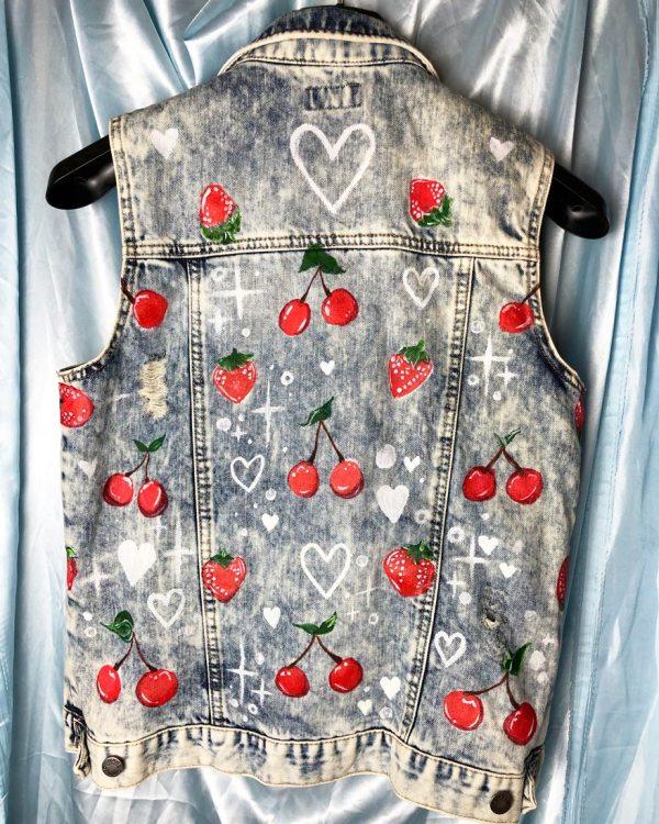 cherry-strawberry-painted-kawaii-denim-waistcoat-jacket