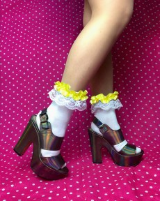 lace-yellow-frilly-white-ankle-socks