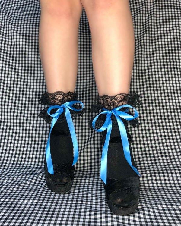 black-bow-tie-socks-blue-cute-ankle-socks