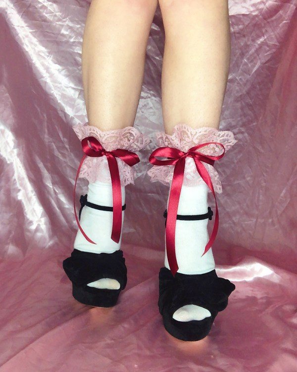 pink-frilly-lace-socks-red-satin-ribbon-bow-ties